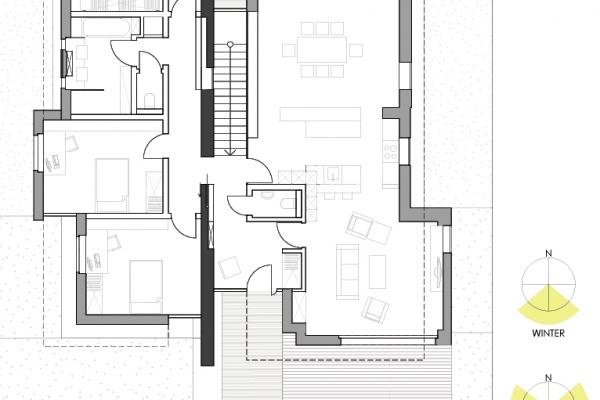 Klar getrennte Gemeinschaftsbereiche und private Räume